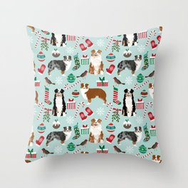 Australian Shepherd christmas festive holiday dog breed gifts for holidays Throw Pillow