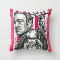 house of cards Throw Pillows featuring Two Kinds Of Pain - House Of Cards by Renato Cunha
