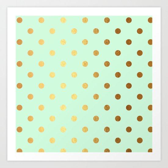 Gold polka dots on mint backround - Luxury greenery pantone pattern Art Print