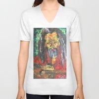 rasta V-neck T-shirts featuring Rasta Man by sladja