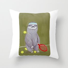 Sloths Are Bad At Things- Kevin the Tennis Star Throw Pillow