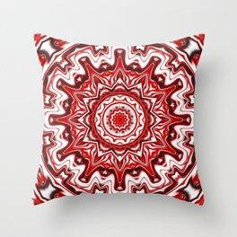Red and White Kaleidoscope Throw Pillow
