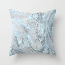 Ice Blue and Gray Marble Throw Pillow
