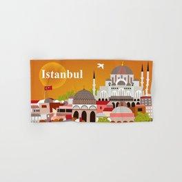 Istanbul, Turkey - Skyline Illustration by Loose Petals Hand & Bath Towel