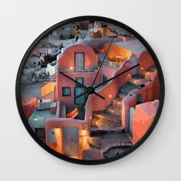 Ocean By Santorini Greek Islands Wall Clock