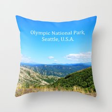 Landscape photography of mountain, blue sky and wild land.  Throw Pillow