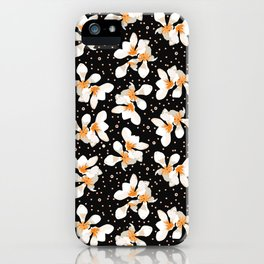 White And Orange Flowers On Black iPhone Case