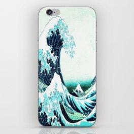 the great wave : aqua teal iPhone Skin
