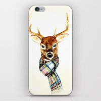 craftberrybush iPhone & iPod Skins featuring Deer buck with winter scarf - watercolor by craftberrybush
