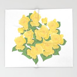 Yellow Rose Bouquet Digital Drawing Throw Blanket