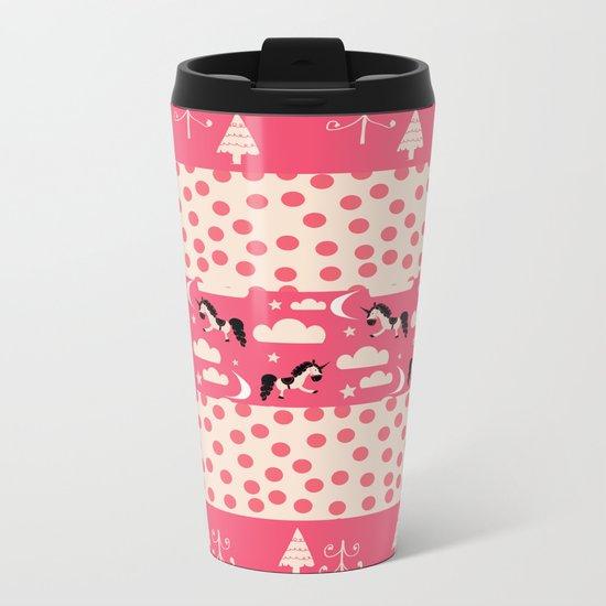 Unicorn Pink patchwork Metal Travel Mug