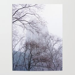 Snow in the Bryant Park Sky, NYC Poster