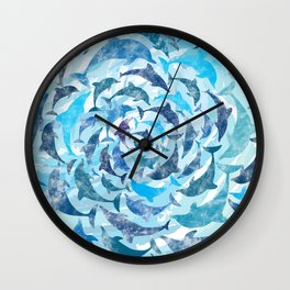 Water color dolphins Wall Clock