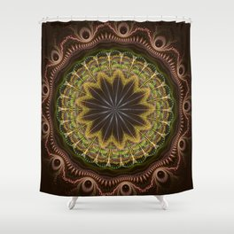 Groovy fractal mandala with tribal patterns Shower Curtain