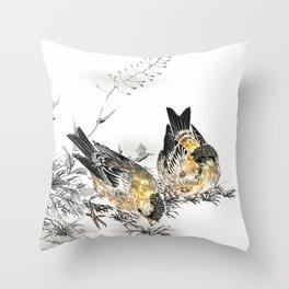Antique Japanese Woodblock Print Art By Numata Kashu - Greenfinch Birds And Shepherd's Purse  Throw Pillow