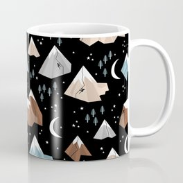 Rock Climbing under the new moon stars and mountains pattern Coffee Mug