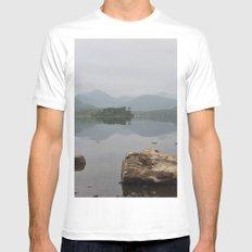 Derwentwater, Lake District MEDIUM White Mens Fitted Tee