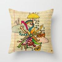 cthulu Throw Pillows featuring Notebook World by Duru Eksioglu