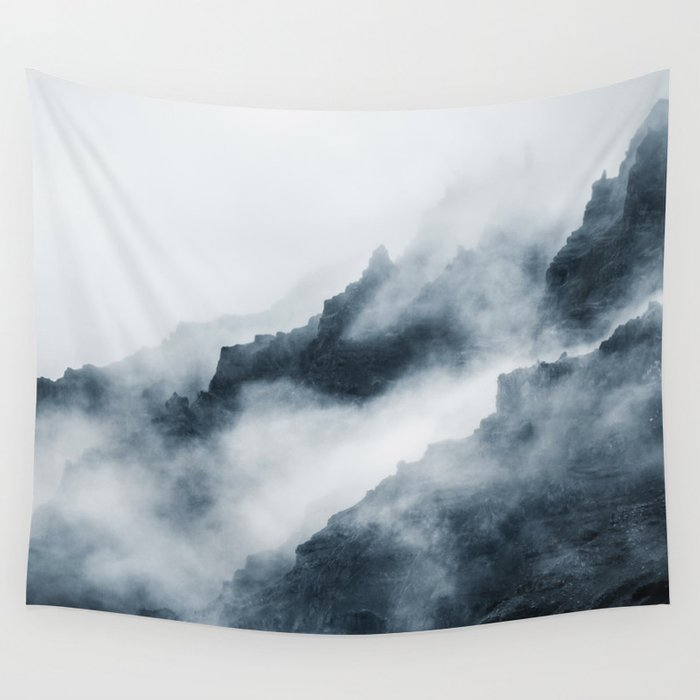 Foggy Mountains Wall Tapestry