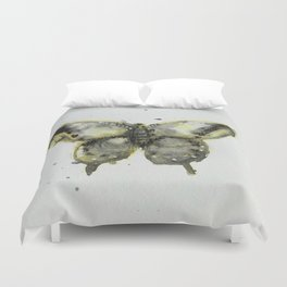 Yellow and Gray Butterfly Duvet Cover