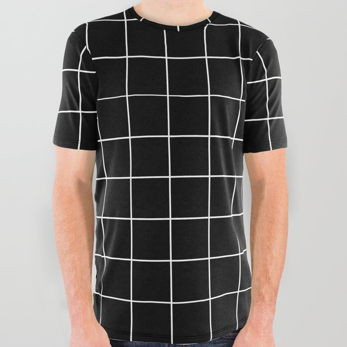 99345d9fb Grid Simple Line Black Minimalist All Over Graphic Tee by ...