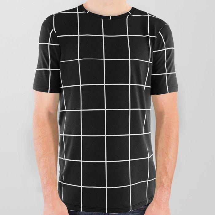 Grid Simple Line Black Minimalist All Over Graphic Tee