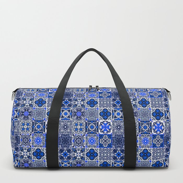 -A34- Blue Traditional Floral Moroccan Tiles. Duffle Bag