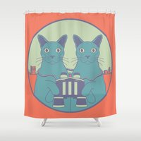 gemini Shower Curtains featuring gemini by Gray