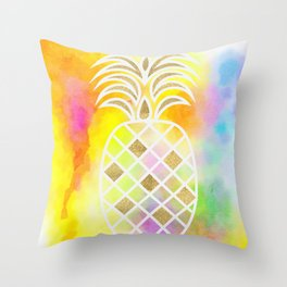 Watercolor and Gold Pineapple Throw Pillow