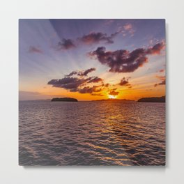 Seascape and Sunset Metal Print