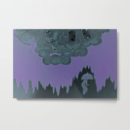 Strange Clouds. Black Rain.  Metal Print