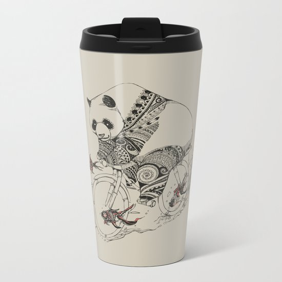 Panda and Follow Fish Metal Travel Mug