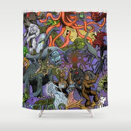 Cryptid Creatures and Mysterious Monsters Shower Curtain
