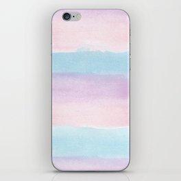 Modern blush pink teal color block watercolor brushstrokes stripes iPhone Skin