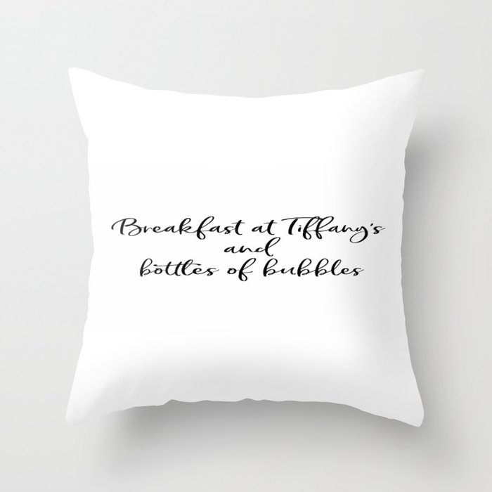 Ariana G. Poster, 7 Rings, Breakfast at Tiffany's and bottles of bubbles Throw Pillow