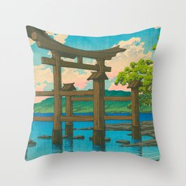 Vintage Japanese Woodblock Print Torii In Water Sacred Shinto Shrine Throw Pillow