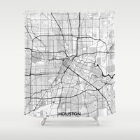 houston Shower Curtains featuring Houston Map Gray by City Art Posters