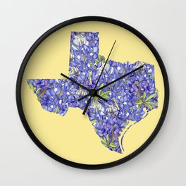 Texas in Flowers Wall Clock