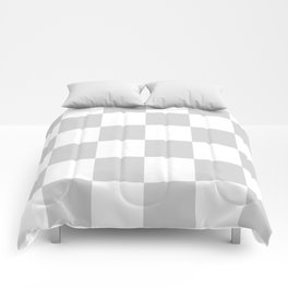 Large Checkered - White and Light Gray Comforters