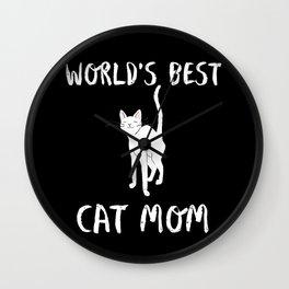 World's Best Cat Mom Cute Animal Typography Art Wall Clock