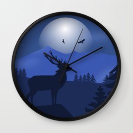 Mystical Night in the Mountains Wall Clock