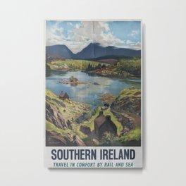Southern Irleand Vintage Travel Poster Metal Print