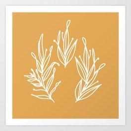 Pluvia Leaves | White on Honey Art Print