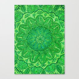 mandala of greenery Canvas Print