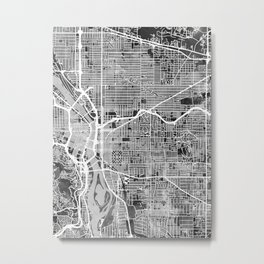 Portland Oregon City Map Metal Print