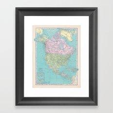 Vintage North America Map Framed Art Print