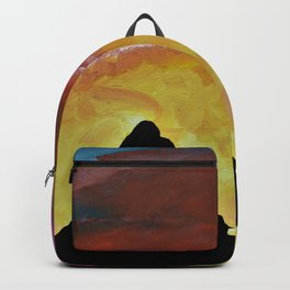 Everest Silhouette - Abstract Sky Oil Painting Backpack
