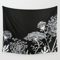 alisa burke Wall Tapestries featuring queen anne's lace by Alisa Burke