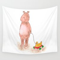 teddy bear Wall Tapestries featuring Teddy bear by Alison Sadler's Illustrations