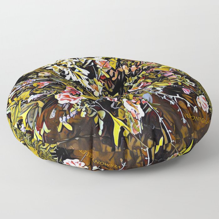 Yellow and Pink Bouquet of Flowes Floor Pillow